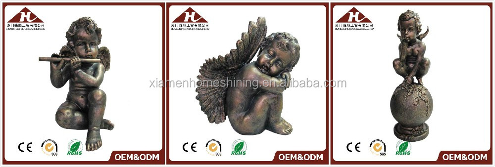 resin antique cherub angel statues with ball