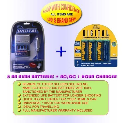 Sony DSC-P51 Digital Camera Battery Charger Replacement for 4 AA NiMH 2800mAh Rechargeable Batteries with Charger