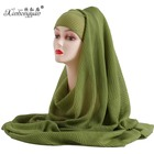 wholesale islamic clothing Volumizer Crinckle Cotton And Linen Hijab Scarf