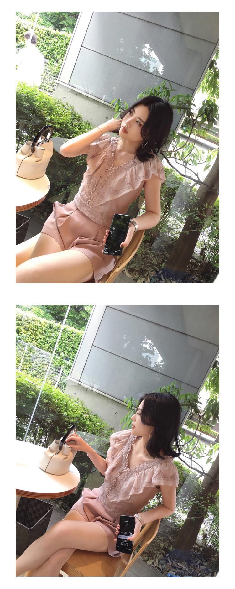 ASM ANNA mùa hè ren thêu bay tay áo v cổ áo phụ nữ áo tops đối với phụ nữ