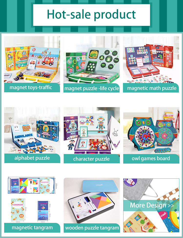 Custom Portable Jigsaw Puzzle Board Creative Toys Educational Eva Foam Tangram Magnet Puzzle