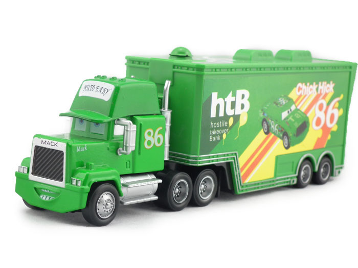 kids cartoon pixar cars chick hick 86 green mack superliner truck uncle mack diecast metal toy cars