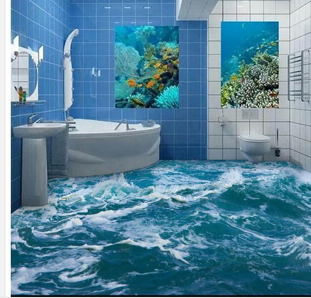 benutzerdefinierte foto boden tapete 3d stereoskopischen meerwasser spray boden 3d wandbild pvc. Black Bedroom Furniture Sets. Home Design Ideas