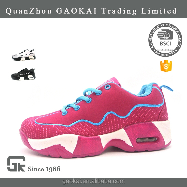 Lightweight pink air sports shoes custom sneaker manufacturers with PU upper