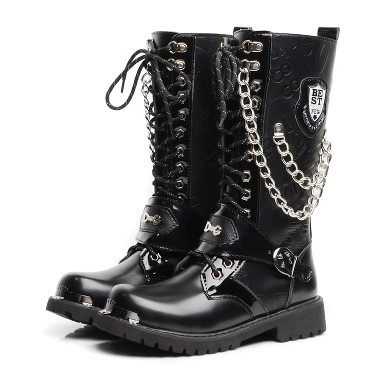 warm men's autumn punk flats winter shoes men high boots ...