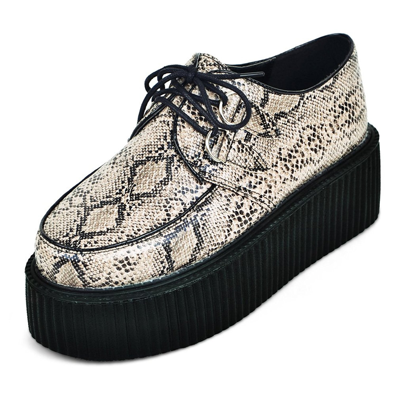 b30426640a4f2 Buy RoseG Womens Handmade checks pattern Flats Platform Creeper ...