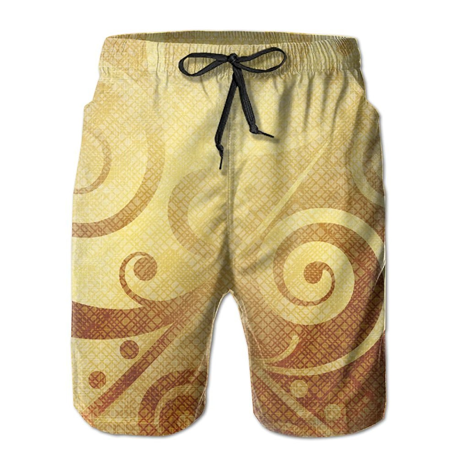 Richard-L Gold Canvas Design Floral Swirls Leaves Summer Quick Dry Board/Beach Shorts For Men