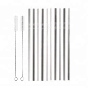 Set of 10 Stainless Steel Straws Straight Reusable Drinking Straws 265mm Long 6mm Dia for 20/30 oz Tumbler