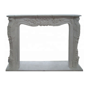 Hunan white marble natural carved indoor fireplace