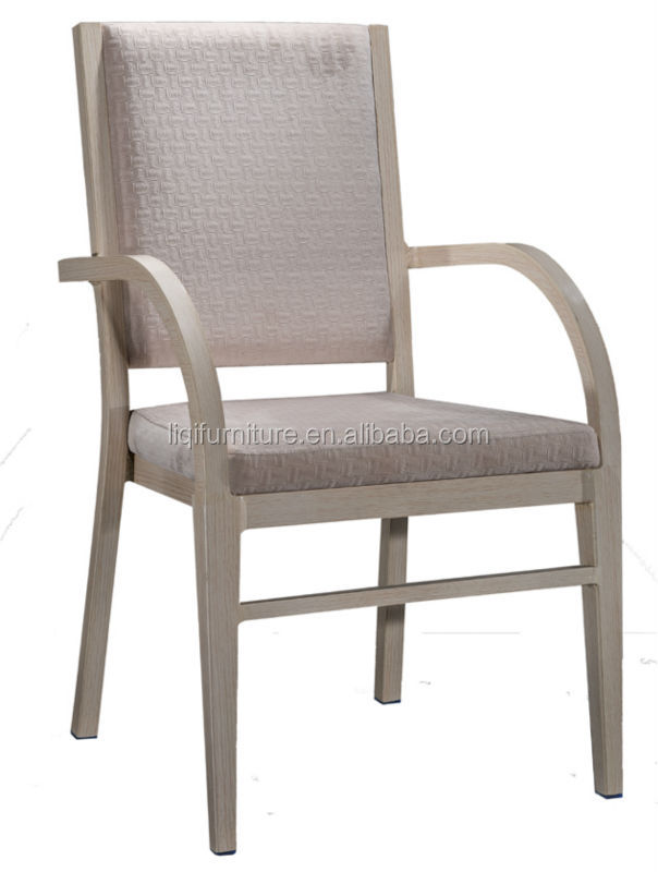 Comfortable Upholstered Imitation Wooden Aluminum Armchair QL7337