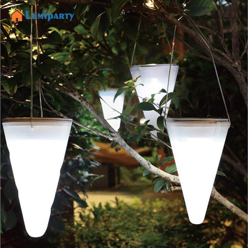 DSstyles LED Outdoor Hanging Lights Lamp Solar Energy Powered Cone Shaped Balcony Home Garden Outdoor Decor