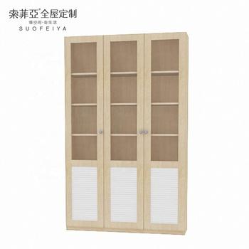 Suofeiya Wooden Bookcase Furniture With Glass Doors Model Buy