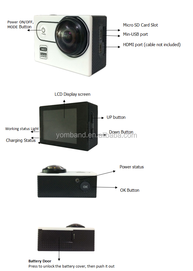 New 220 degree wide angel fisheye Lens YB-780 wifi 360 degree panoramic sport action camera full hd 1080p action camera
