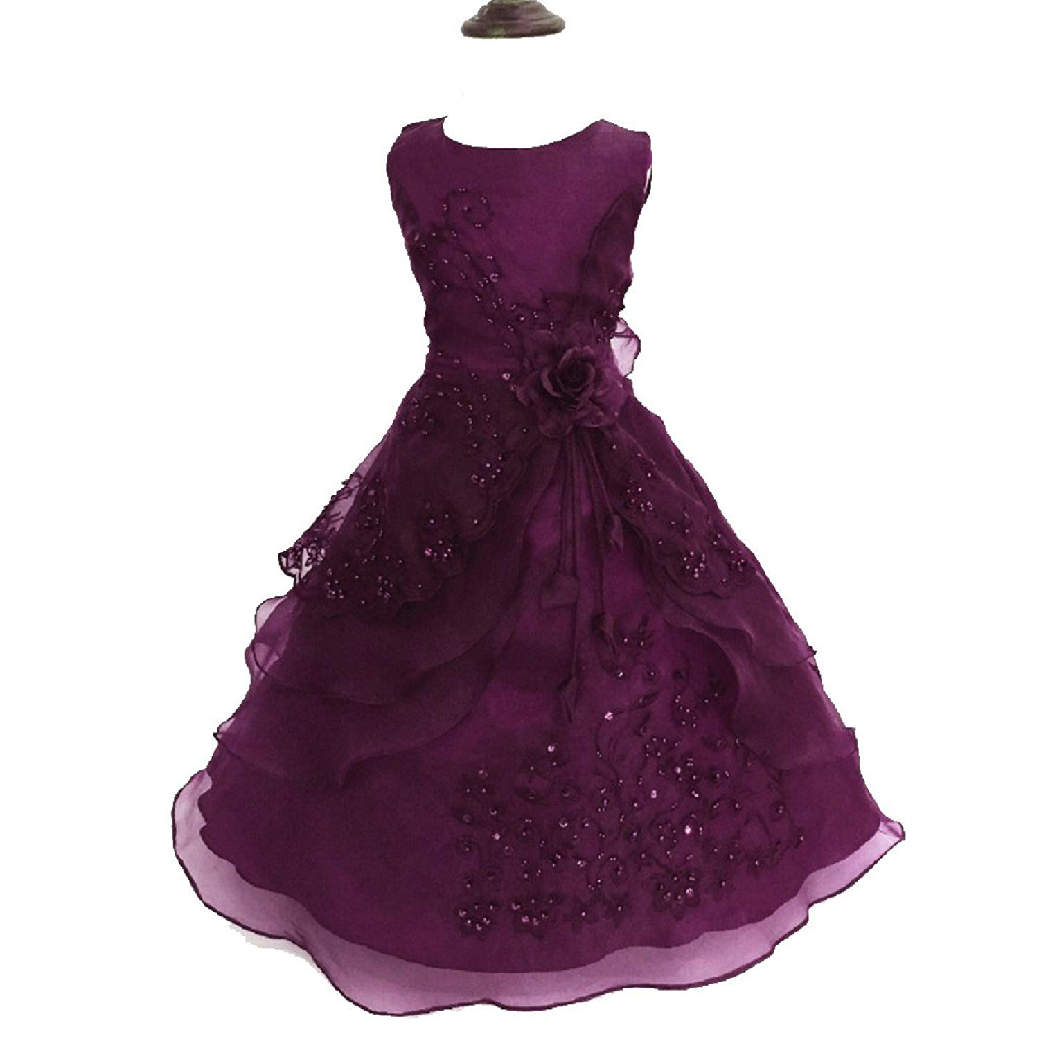 ee8a7a81eaba Little Big Girls Embroidered Beaded Flower Girl Birthday Party Dress with  Petticoat
