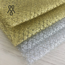 Hot Sale 100% Polyester Silver Metallic Fabric With Gold Thread