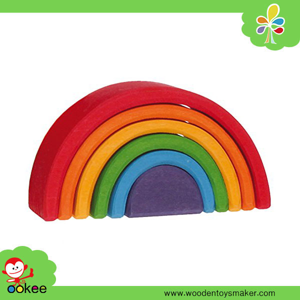 Wooden OEM 6 Pc Rainbow Nesting Wooden Blocks Stacker Montessori New Toys for Kid 2016