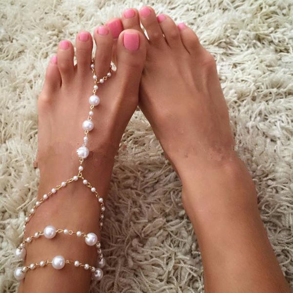 cefd08bc6e3f Moda 18 K chapado en oro Cadena de aleación con perlas artificiales pulsera de  tobillera