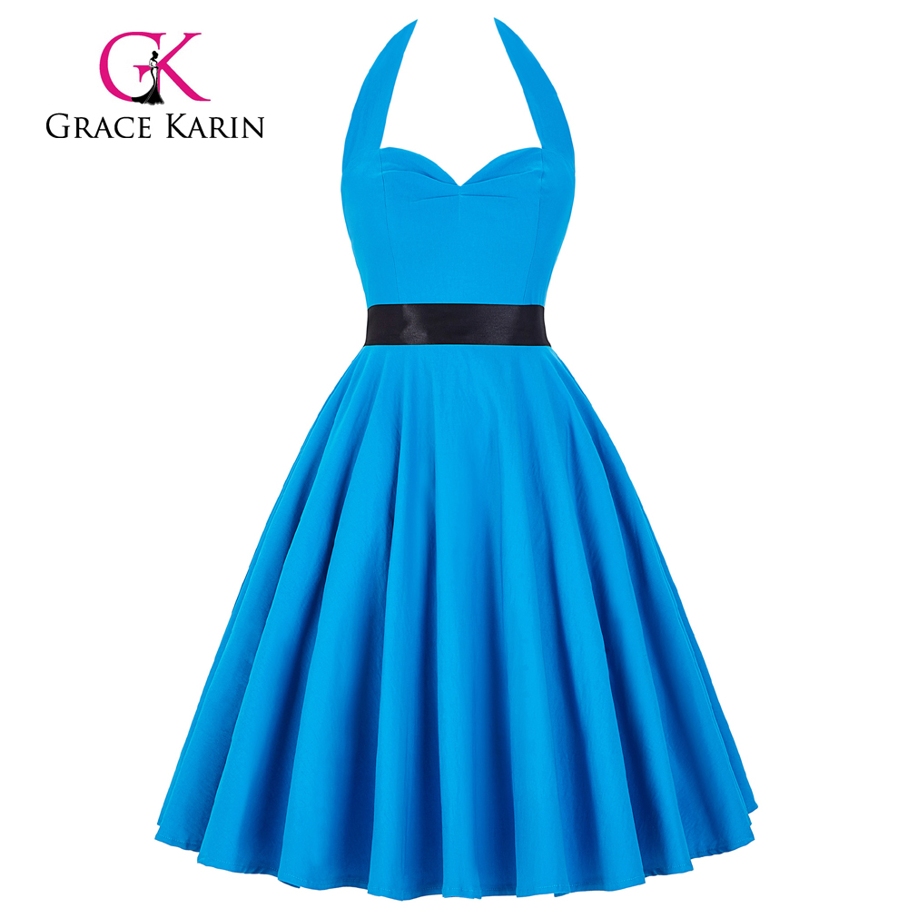 Grace Karin Sweetheart Backless Halter Nylon-Cotton Deep Sky Blue Retro Vintage Dress CL008950-6