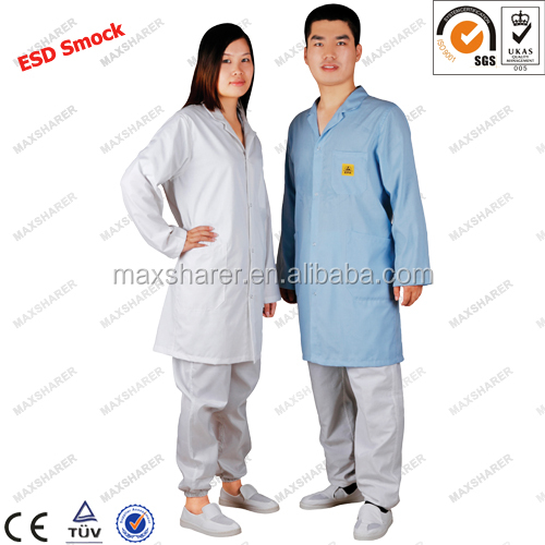 Cotton&polyester ESD antistatic smock/garment (Good quality, competitive price)