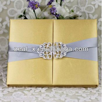 Elegant Style Luxury Gatefold Silk Box Wedding Invitations Wholesale
