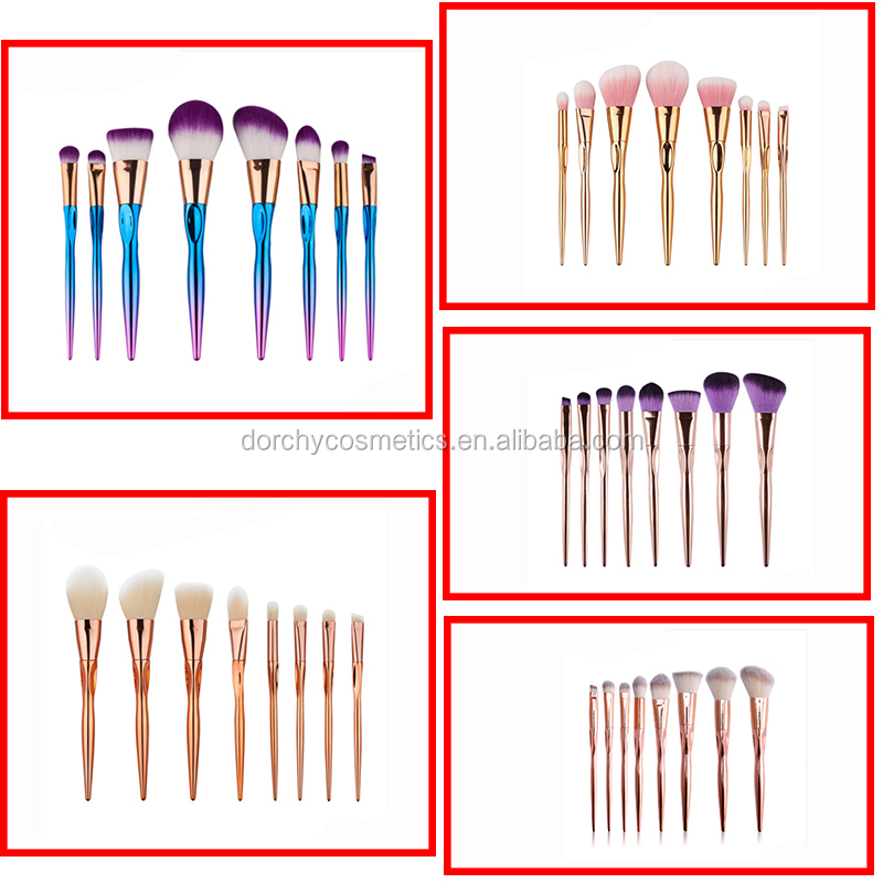 8pcs Fashionable color Unicorn Cosmetic Go Pro Unicorn makeup brushes tool kit