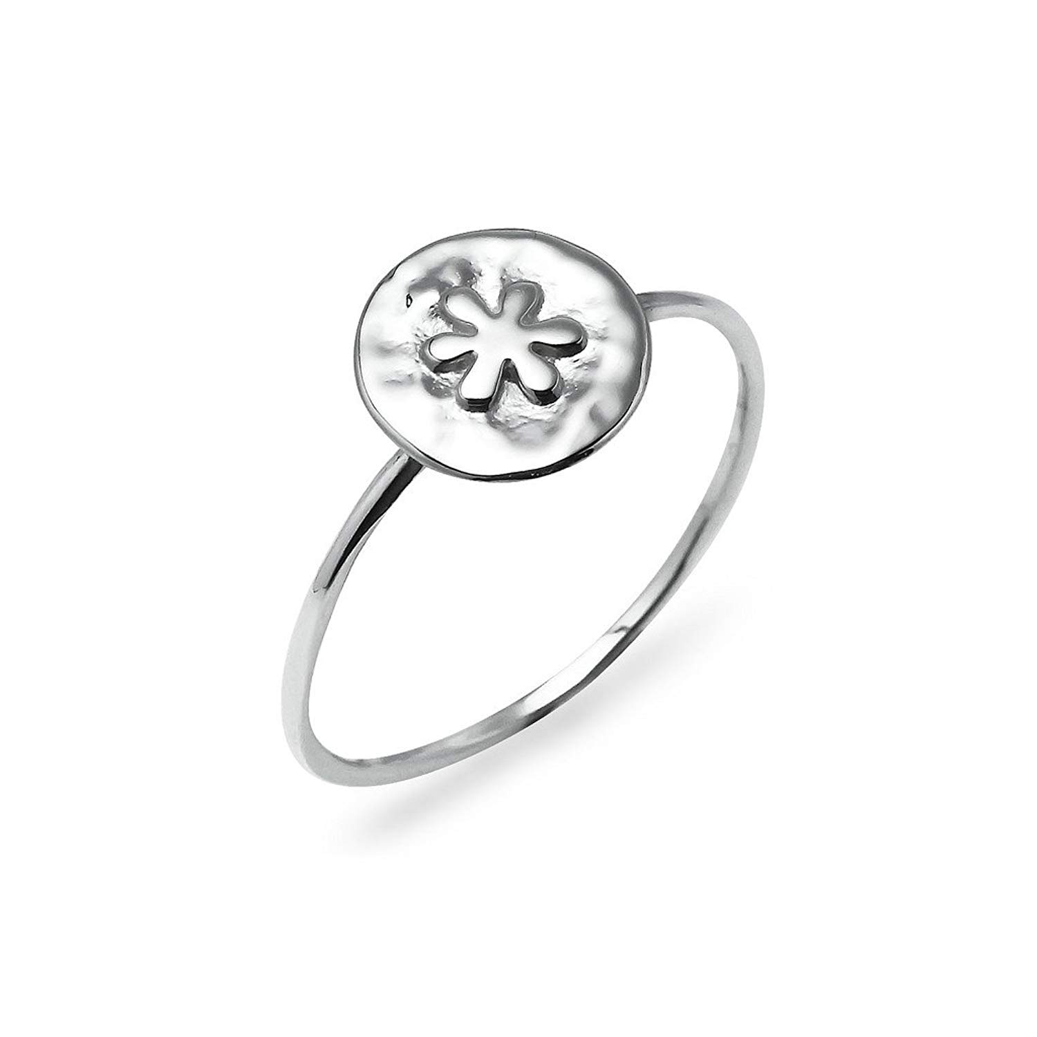 00e3d06ea Daisy Flower Charm Band Ring - Sterling Silver Promise Jewelry Sizes 5 to 10