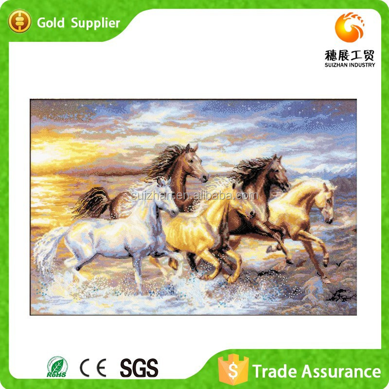 Chinese Style Home Decor Diamond Run Horse Oil Painting