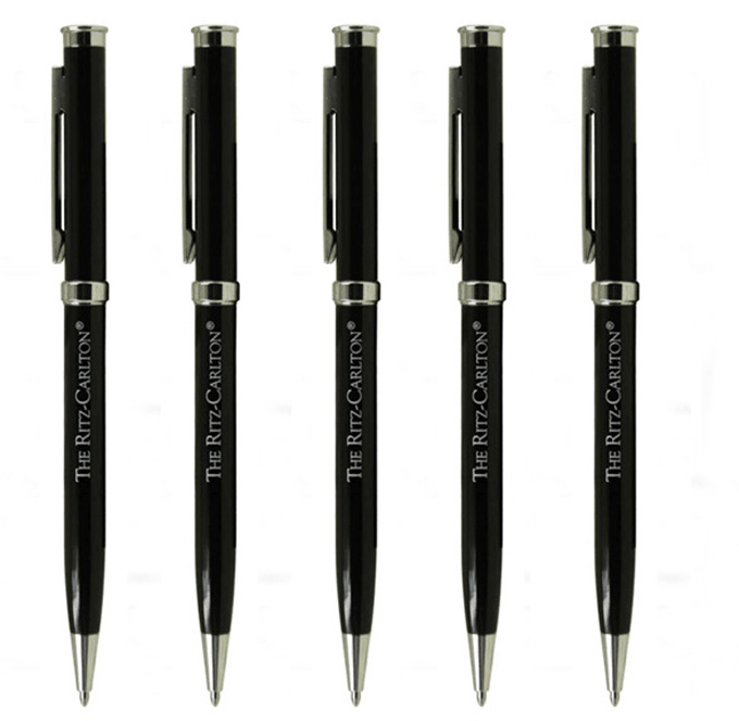 custom logo oblique metal advertising pen plain oily push metal pen