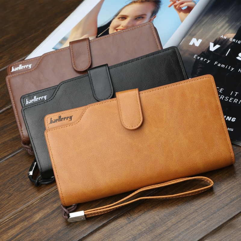 Korean version business large capacity zipper long wallet fashion mobile phone bag multi-card PU <strong>leather</strong> men's handbag <strong>clutch</strong>
