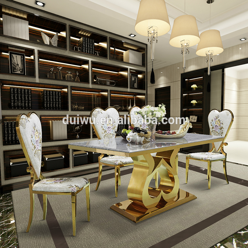 Hotel Chair Furniture Stainless Steel Gold Legs Heart Shape Chairs Luxury Dining Room Upholstered Chair For Five Star Hotel