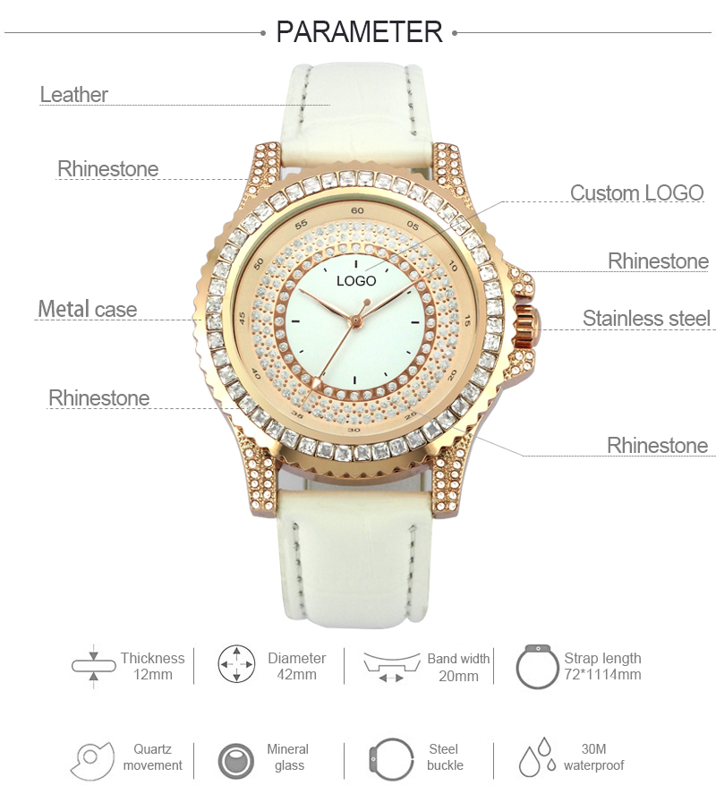 2020 Hot Sale Alloy Case With Stone Leather Strap Quartz Movement Fashion Lady Watch