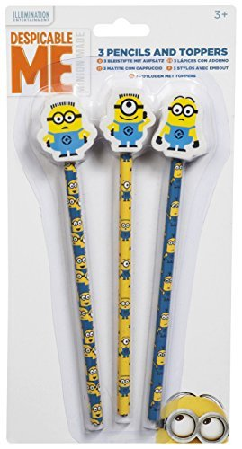 MINIONS | Pencils with Eraser Toppers | MINION Pencil and Erasers Set | Perfect for School