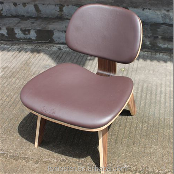 leather seat LCW low wood plywood lounge chair