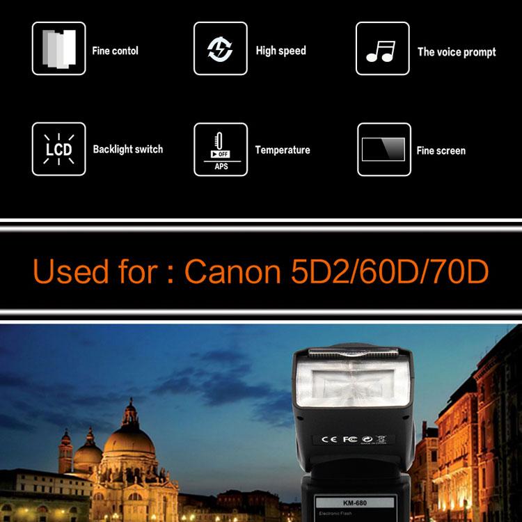 2019 Professional Camera Flash Light Km-680 Speedlite Led Flashing Light  Auto Zoom For Canon Nikon Dslr Photographic Equipment - Buy Camera Flash