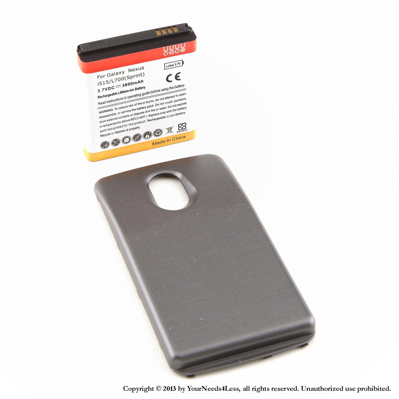 YN4L® 3800mAh extended battery for Samsung Galaxy Nexus L700 Sprint + Black cover