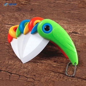 2018 New Mini Bird Ceramic Gift Knife Pocket Folding Knives Kitchen Fruit Paring Knife With Colourful ABS Handle