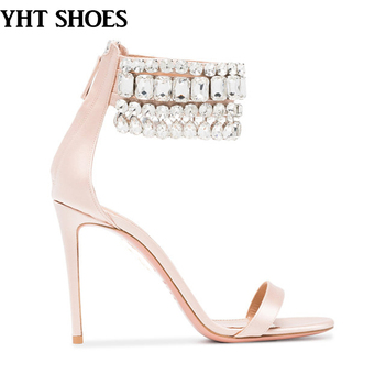 Girls rhinestone ankle strap open toe Nude high heel sandals Bridal Wedding  Shoes 0d52c86ed6e2