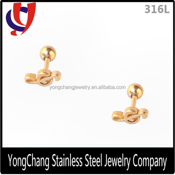 Customizable Line Cut 316l Stainless Steel Stud Earrings With A Beautiful Note Pattern For Ear Piercing
