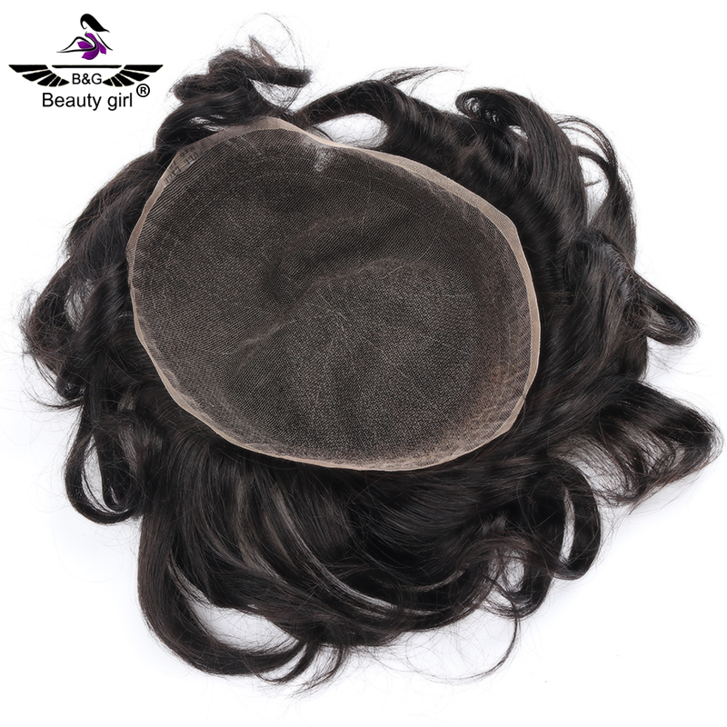 Remy hair replacement systems mens French lace  toupee with black hair