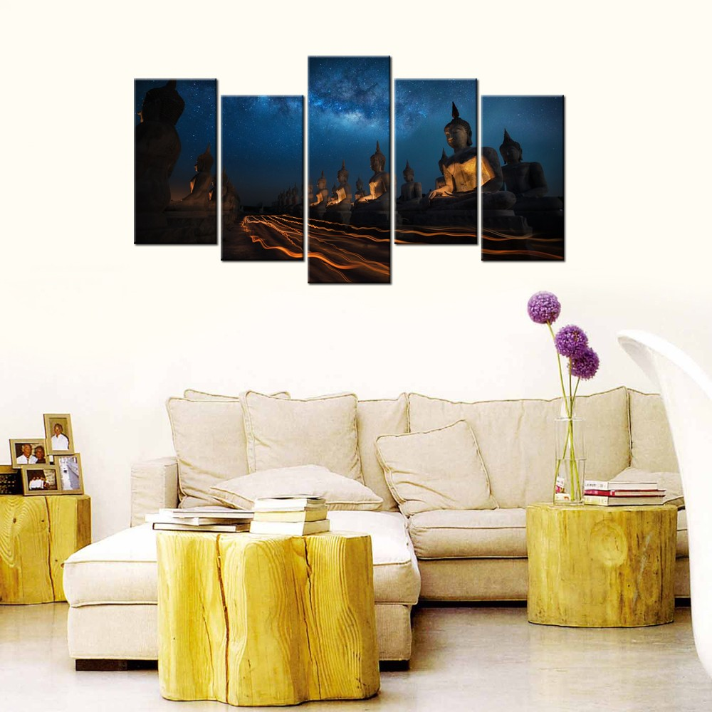 Buddha And Starry Sky Hd Photo Canvas Painting/thai Buddha Canvas ...