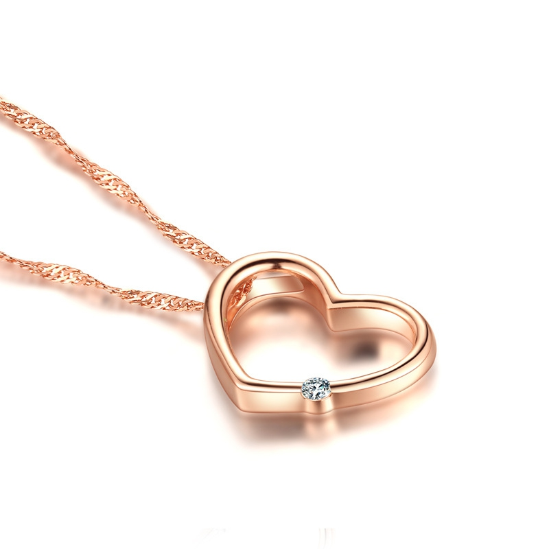 Crystal jewelry heart diamond shaped 펜 던 트 rose gold color