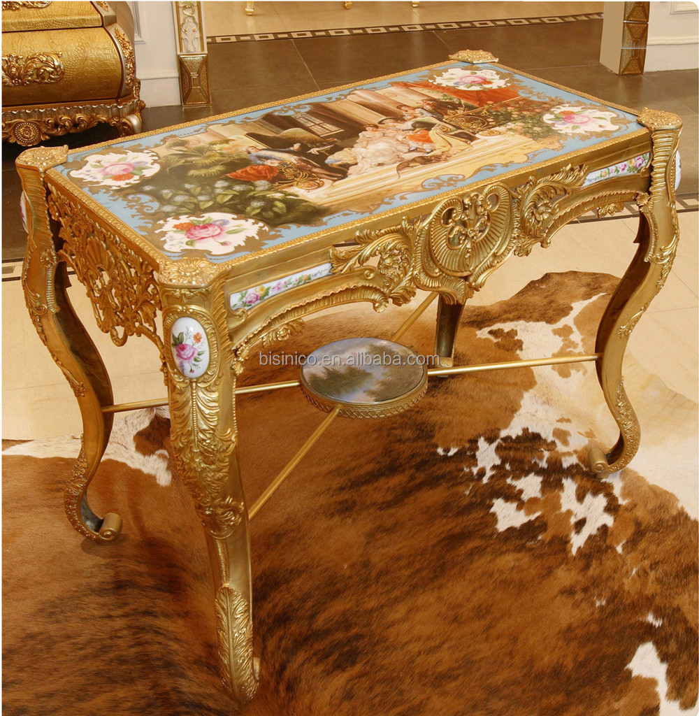 Luxury french louis xv style bronze coffee table royal palace hand painted p - Table basse style vintage ...