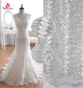 Textile 3d handwork luxury french tulle wedding embroidery beaded bridal lace fabric