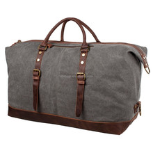Vintage leather waxed canvas unisex weekend travel duffle bag