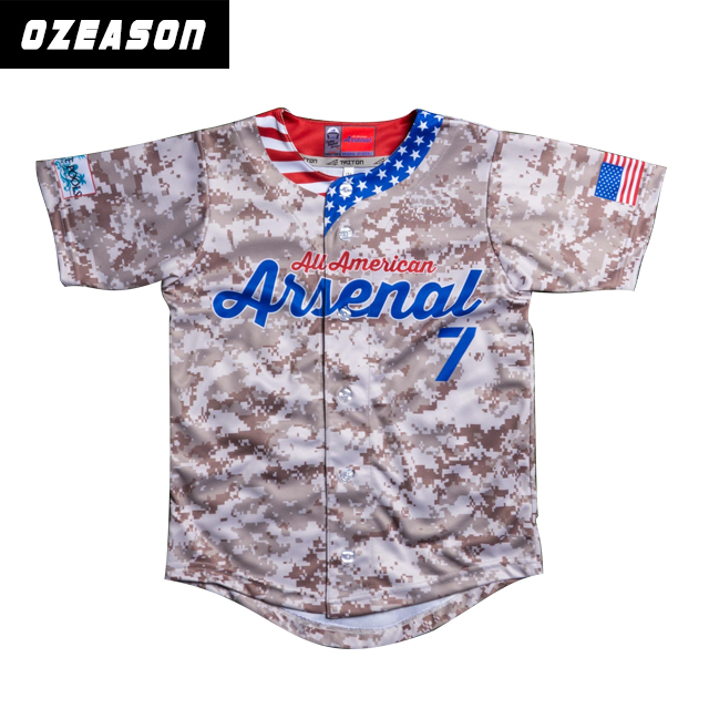 OEM Sublimatie Printproces Digitale Camo Button Down Baseball Jersey Voor Kinderen/Volwassenen