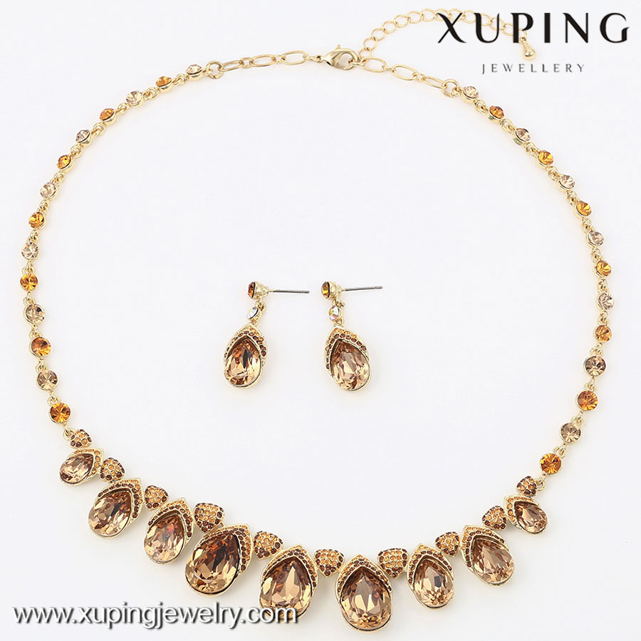 63907 xuping fashion jewelry 14k gold luxury crystal wedding jewelry sets