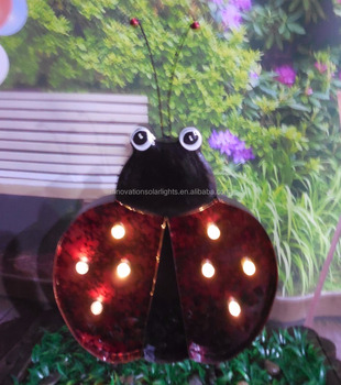 Metal Ladybug Yard Garden Solar Led Lights Stakes