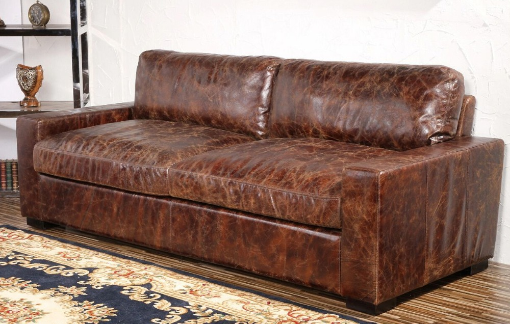 Low Back Maxwell Leather Sofa With Squaredoff Seat And Back - Maxwell sofa