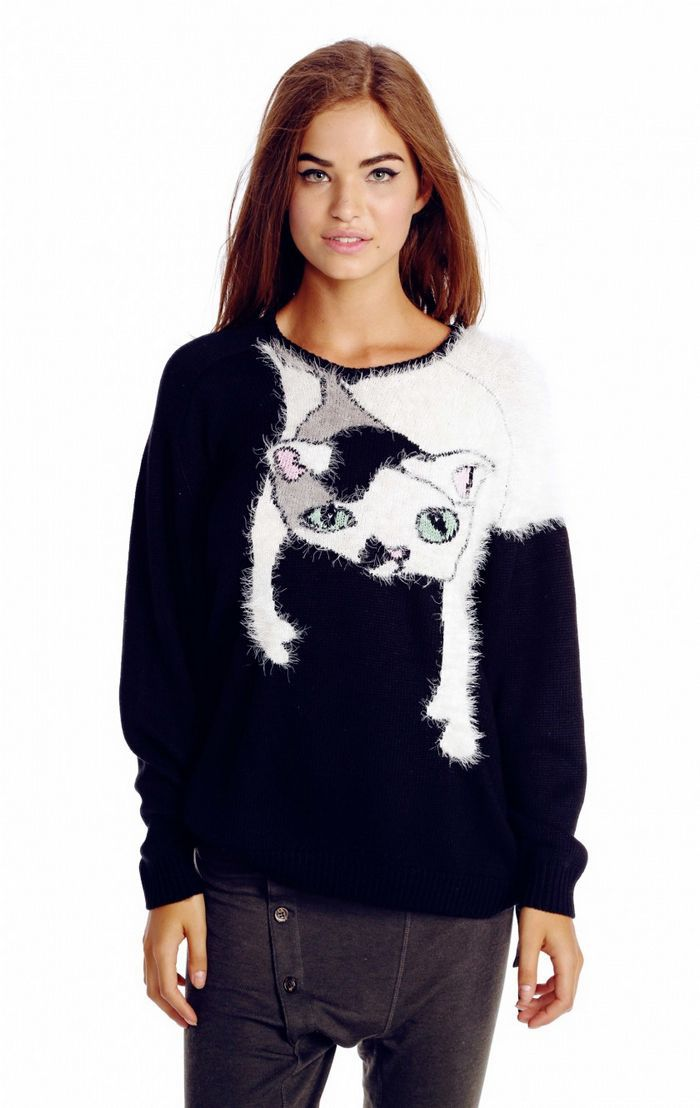 2015 Fall Winter New Arrival Wildfox Gypsy Loose Soft Pink Fur O Neck Cute Wool Knitting Pullover Women Black Cat Sweater