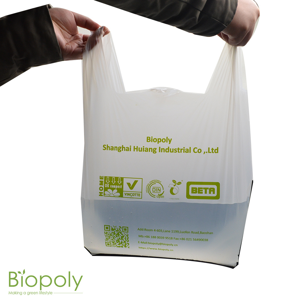 BIOPOLY 100% Biodegradable And Compstable Shopping Plastic PLA Bag